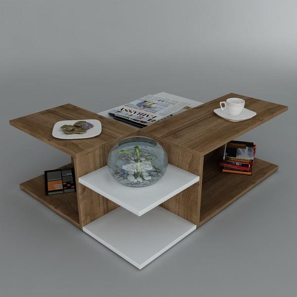 Konferenčný stolík Friend Coffee White/Walnut, 95x31,8x75 cm