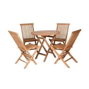 Vonkajší stôl so 4 stoličkami z teakového dreva Santiago Pons Mateo