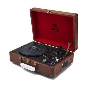 Hnedý gramofón s rádiom GPO Attache Brown