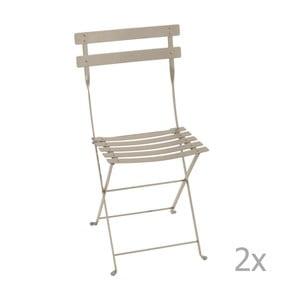 Sada 2 béžových skladacích záhradných stoličiek Fermob Bistro
