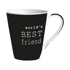 Čierny porcelánový hrnček KJ Collection World's best friend, 300ml