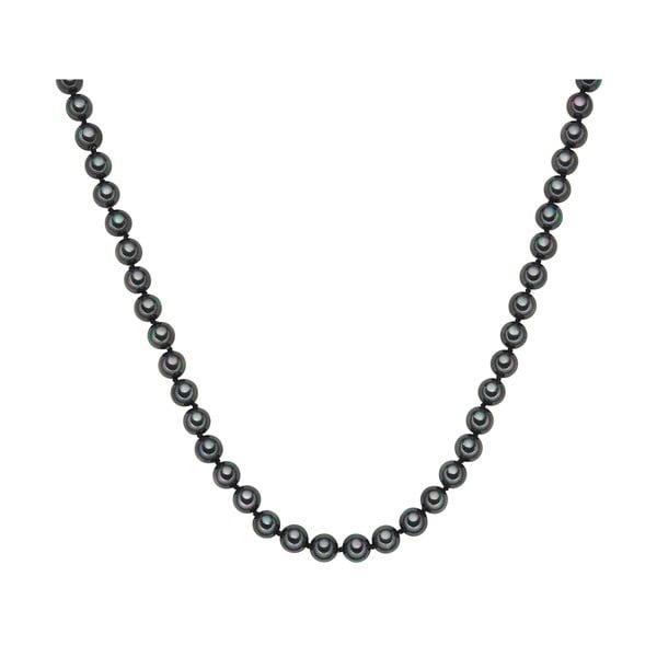 Náhrdelník s antracitovo čiernymi perlami ⌀ 8 mm Perldesse Muschel, dĺžka 40 cm