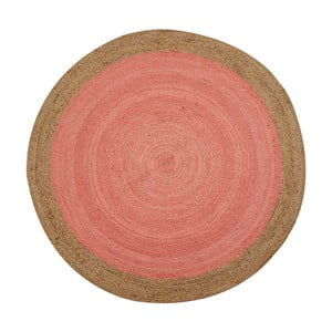 Ružový jutový koberec vhodný do exteriéru Native, ⌀120 cm