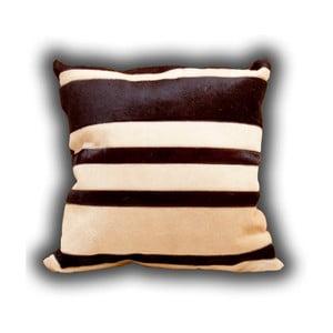 Vankúš z pravej kože Pipsa Stripes, 45×45 cm