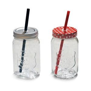 Sada 2 pohárov s vrchnákom a slamkou Interiörhuset Glassjar Straw