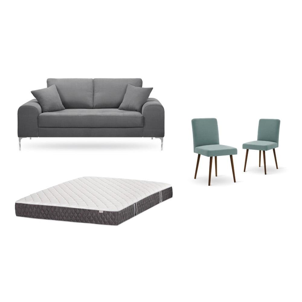 Set dvojmiestnej sivej pohovky, 2 sivozelených stoličiek a matraca 140 × 200 cm Home Essentials