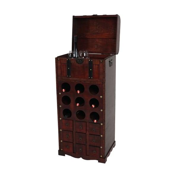 Hnedý stojan na 9 fliaš vína Mendler Shabby Colonial 104 cm
