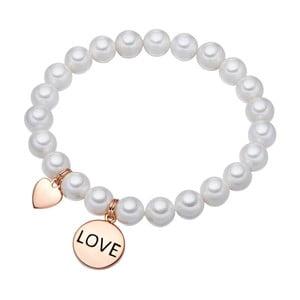 Biely perlový náramok Pearls of London Love, 19 cm