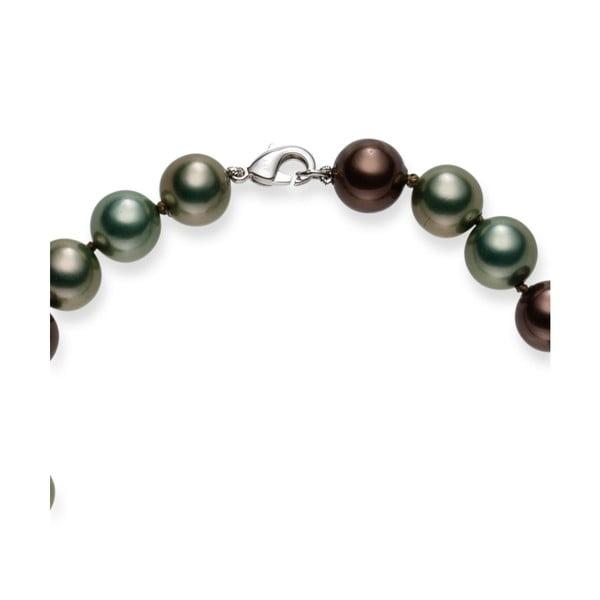 Sivozelený perlový náhrdelník Pearls Of London Mystic, dĺžka 50 cm