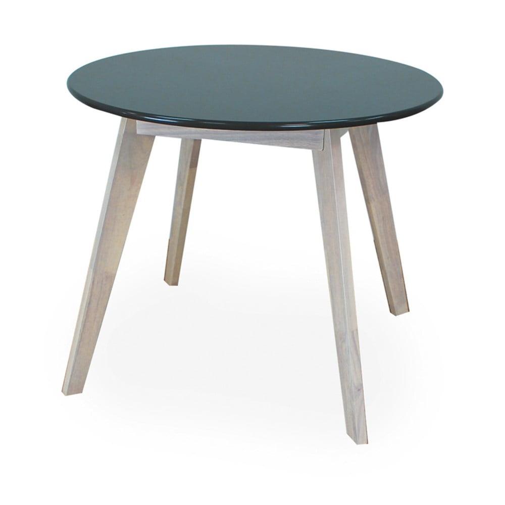 Okrúhly stôl s čiernou doskou a nohami z kaučukového dreva Signal Helsinki, ⌀ 100 cm