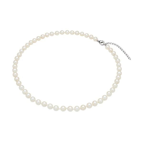 Náhrdelník s bielymi perlami⌀6 mm Perldesse Muschel, dĺžka 40 cm
