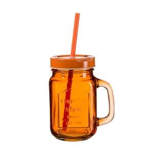 Tmavooranžový pohár s viečkom a slamkou SUMMER FUN II BUNT, 450ml