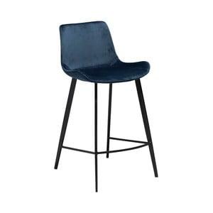 Tmavomodrá barová stolička DAN–FORM Denmark Hype Velvet