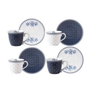 Sada 4 porcelánových hrnčekov na espresso s podšálkami Creative Tops Vintage Indigo