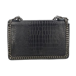 Čierna kožená kabelka Chicca Borse Parteo