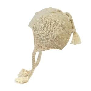 Vlnená čiapka s ušami Biela zdobená