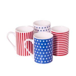 Sada 4 porcelánových hrnčekov Stars and Stripes