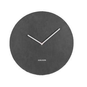 Čierne nástenné bridlicové hodiny Karlsson Slate, Ø40cm
