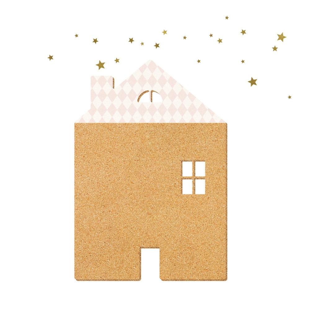 Dekoratívna samolepiaca nástenka Dekornik Pink House With Stars, 57 × 40 cm