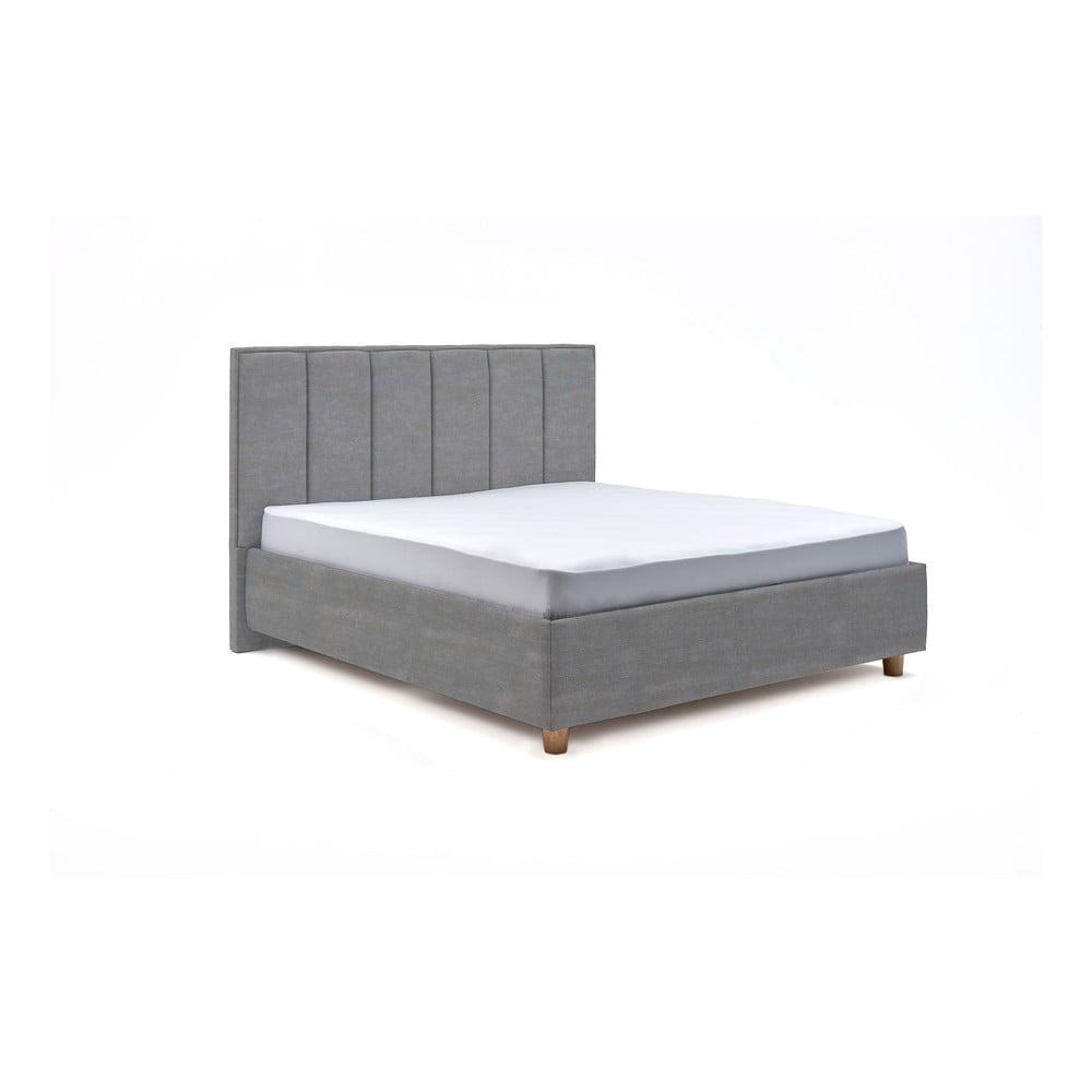 Svetlomodrá dvojlôžková posteľ s roštom a úložným priestorom PreSpánok Wega, 160 x 200 cm