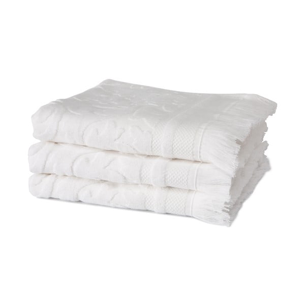 Sada 3 bielych uterákov z organickej bavlny Seahorse, 60x110cm
