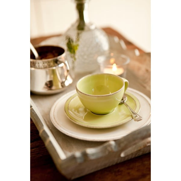 Zelená kameninová šálka na čaj s tanierikom Costa Nova Friso, objem 260ml