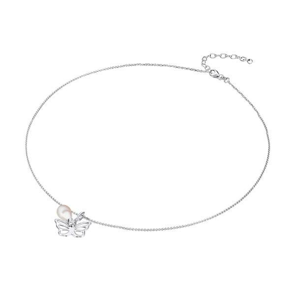 Strieborný náhrdelník s príveskom a perlou Chakra Pearls Butterfly, 42 cm