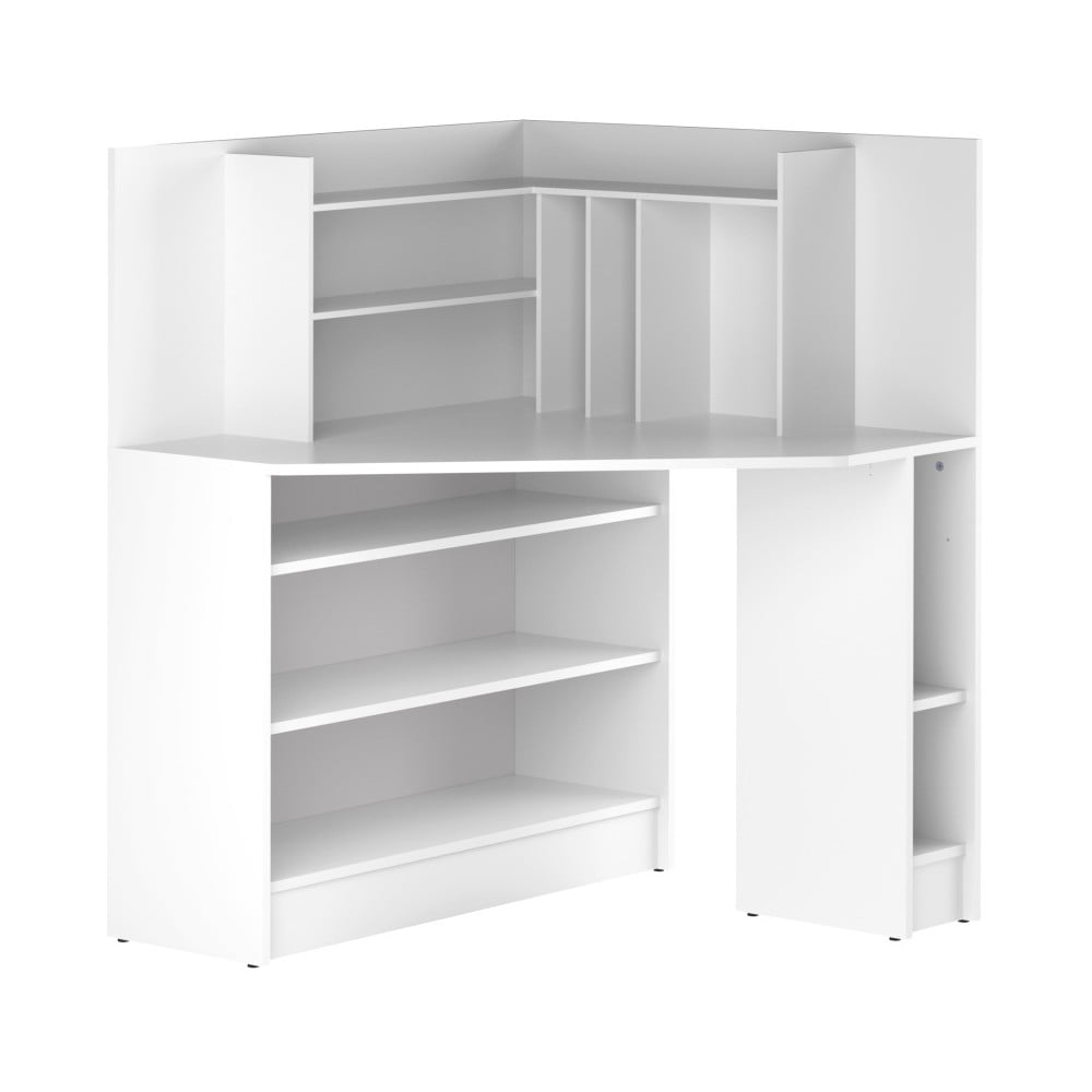 Biely rohový pracovný stôl Symbiosis Archi