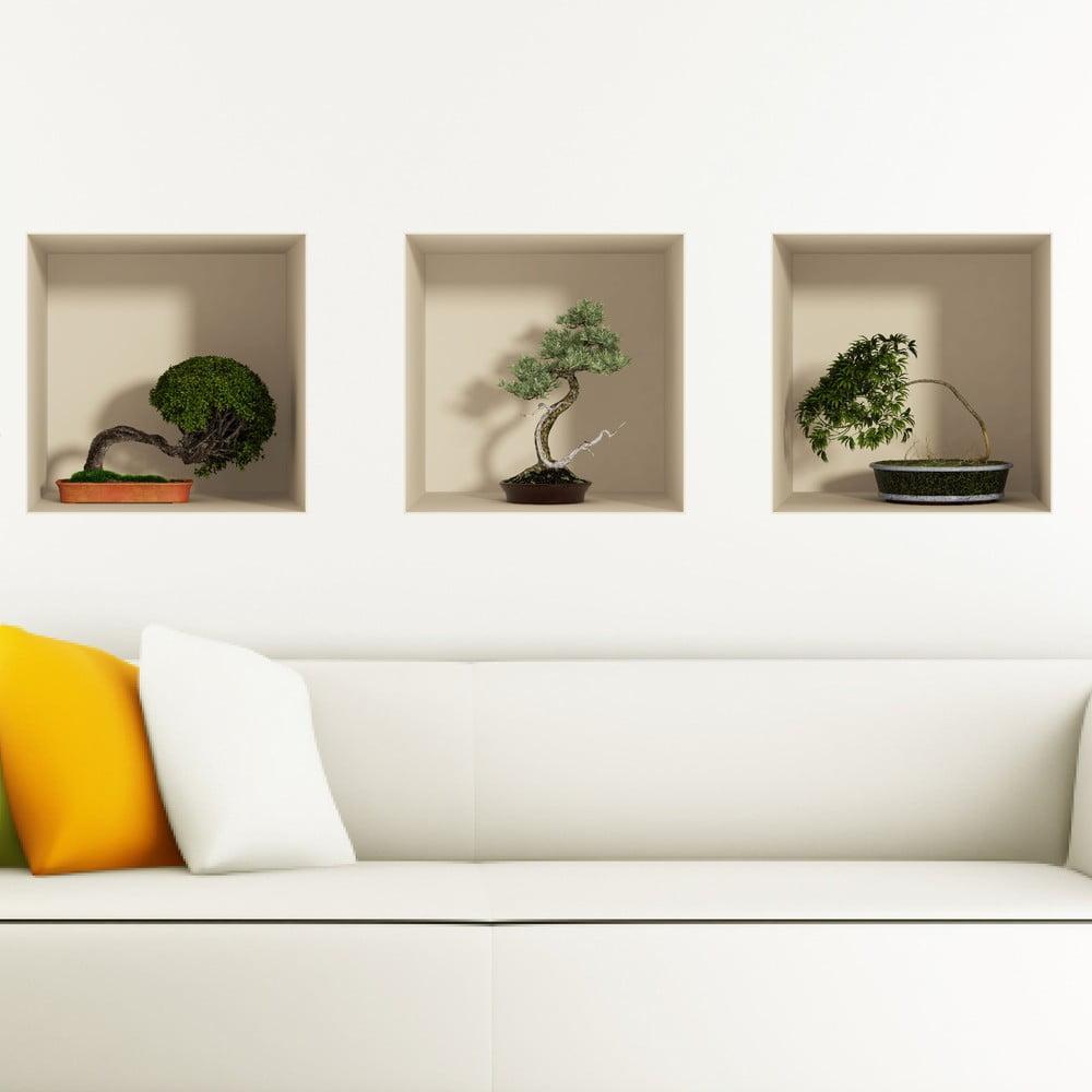 Sada 3 samolepiek s 3D efektom Ambiance Bonsais