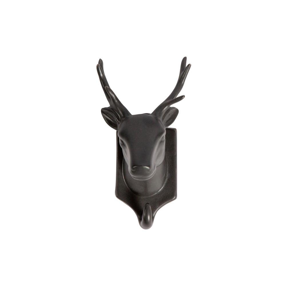 Čierna porcelánová závesná dekorácia WOOOD Nona Deer