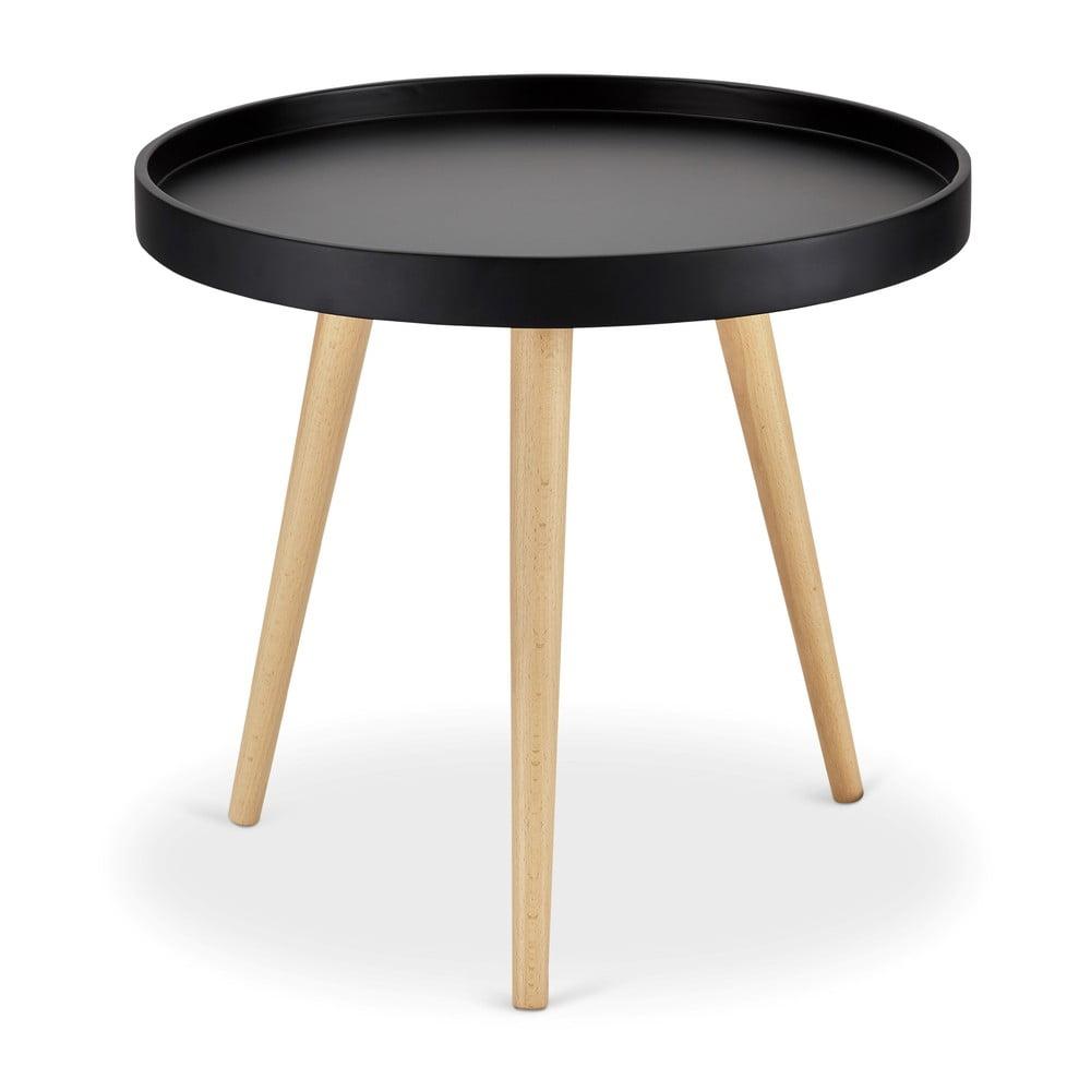 Čierny odkladací stolík s nohami z bukového dreva Furnhouse Opus, Ø 50 cm