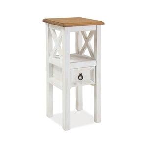 Biely odkladací stolík z borovicového dreva Signal Poprad