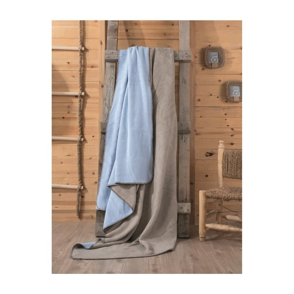 Hnedo-modrá deka Tobby, 200×220 cm