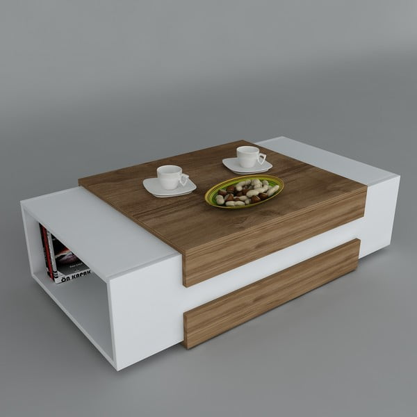Konferenčný stolík Nora White/Walnut, 61x110x31 cm