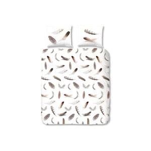 Biele flanelové obliečky Müller Textiel Feathers, 140x200cm