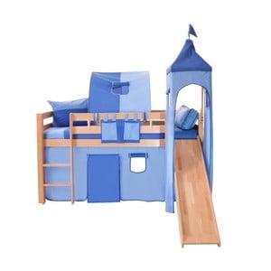 Modrý bavlnený hradný set na detské poschodové postele Mobi furniture Luk a Tom