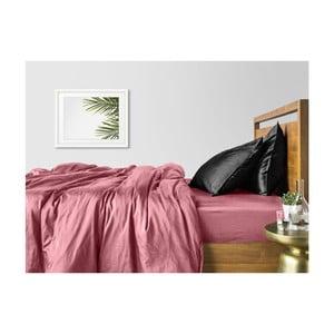 Ružovo-čierne bavlnené obliečky na dvojlôžko s ružovou plachtou COSAS Lago, 200×220cm
