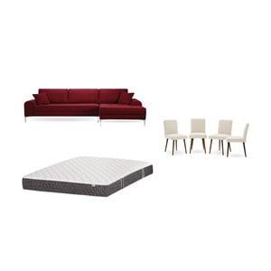 Set červenej pohovky s leňoškou vpravo, 4 krémových stoličiek a matraca 160 × 200 cm Home Essentials