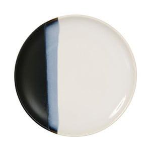 Keramický čierno-biely dezertný tanierik Sema Ekume, 21 cm