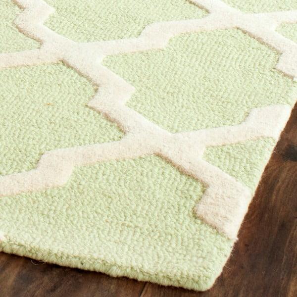 Vlnený koberec Ava Light Green, 91x152 cm