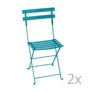 Sada 2 tyrkysových skladacích stoličiek Fermob Bistro