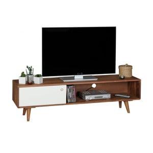 Hnedo-biela TV komoda z masívneho sheeshamového dreva Skyport REPA, výška 40 cm