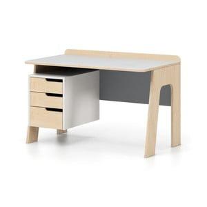 Sivo-biely písací stôl so zásuvkami Devoto Nimbo