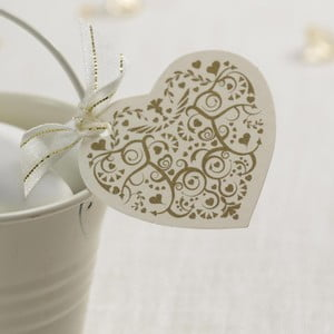 Sada 10 bielo-zlatých visačiek Neviti Vintage Romance