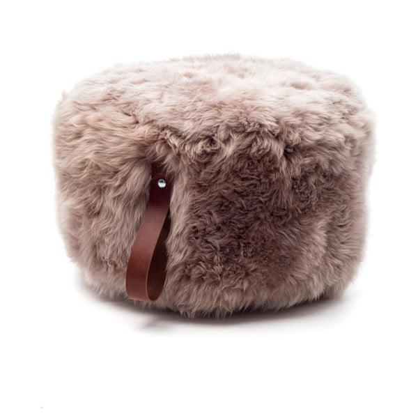 Svetlohnedý okrúhly puf z ovčej vlny Royal Dream