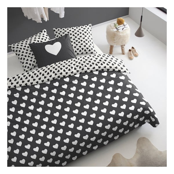 Obliečky  Hearts 240x200 cm, čierne