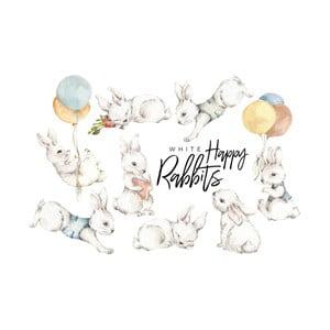 Sada 8 nástenných samolepiek Dekornik White Happy Rabbits
