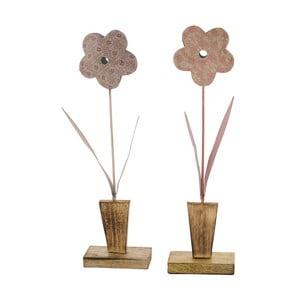 Sada 2 veľkých ružových dekorácií z posmaltovaného kovu na drevenom podstavci s motívom kvetiny Ego Dekor, 10,5×37,5 cm