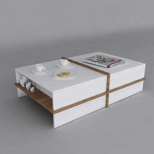 Konferenčný stolík Plus White/Walnut, 60x90x35 cm