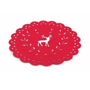 Červené vianočné prestieranie Villa d'Este XMAS Tovaglietta Rossa Tonda Renna, ⌀ 40 cm